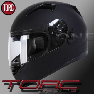TORC DUAL VISOR SCREEN FULL FACE MOTORCYCLE HELMET FLAT BLACK DOT ECE