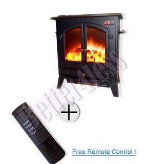 Black Free Standing/Portable Electric Fireplace Heater B 20A1 w/Remote