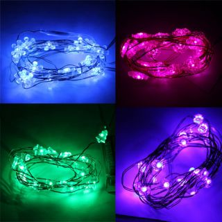 Copper LED Strip Battery Power 2M 20 LED Light For Xmas Fairy Wedding