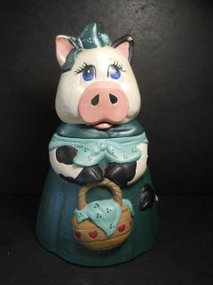vtg Cookie Jar Cow Mama Cow With Her Basket of Cookies Made of Ceramic