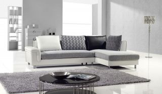 modern contemporary fabric and leather sectional sofa chaise set couch