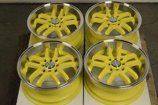 4x100 Yellow Rims Accord Mini Cooper Yaris Jetta Lancer ZX2 Wheels