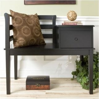 Wildon Home Taylor Cottage Gossip Bench in Black BC9322