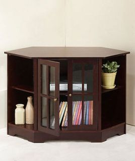 NEW Natural Traditional Media Corner Storage Stand Wooden Holds TV DVD