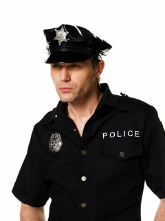Vinyl Police Officer Cop Hat Adult Costume Hats Accessory BRAND NEW