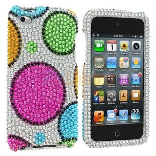 Pink Green Blue Bubbles Bling Rhinestone Case Cover for iPod Touch 4th