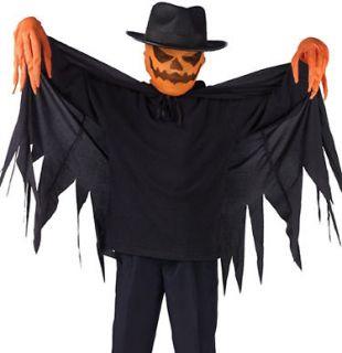 Kids boys scary pumpkin scarecrow halloween costume large
