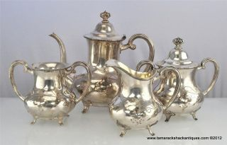 Set of (4) FB Rogers Silver 19thC Quadruple Plate Sugar Creamer Tea