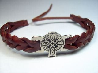 Newly listed Silver Black Leather Celtic Cross Bracelet Wristband Cuff