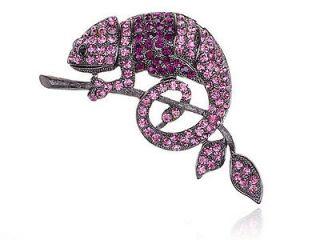 Amethyst Purple Crystal Rhinestone Chameleon Branch Reptile Costume
