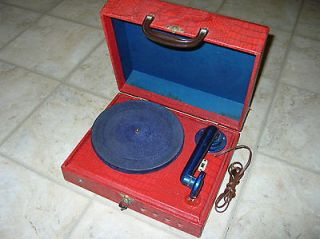 c1950 PORTABLE RECORD PLAYER 78rpm ELECTRIC NO AMPLIFIER