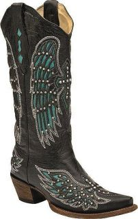 Black Leather Boots w/Turquoise Wings & Swarovski Crystal Crosses