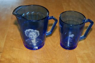 Cobalt Glass Depression Era Shirley Temple Creamer/Pitche​r/mug set