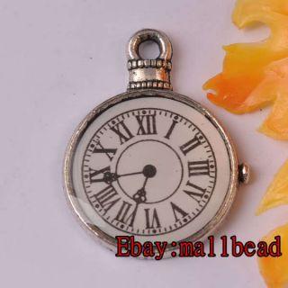 40pcs Tibetan Silver Clock Charms AP5593
