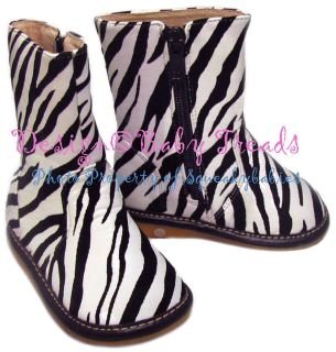 Toddler Animal Print Black & White Zebra Squeaky Boots Fur Lining