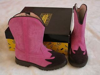 Pink Brown Suede Girls Boots 5 Euro 35 Leather Cowboy Cowgirl Shoes