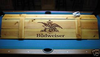 New Budweiser Pool Table Light & Cue Rack Combo