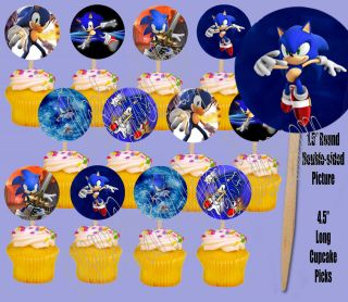 Hedgehog Video Game Double sided Images Cupcake Picks Cake Topper  12