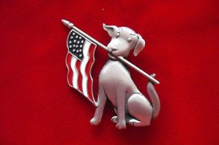 Patriotic Dog with USA Flag JJ pewter pin Jonette