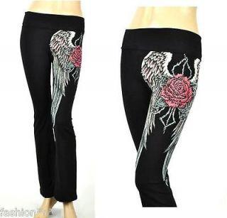 CRYSTAL ROSE ANGEL WINGS TATTOO BLACK YOGA PANTS LEGGINGS & ED HARDY