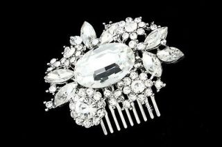 Bridal Rhinestone Crystal Pearl Flower Wedding Tiara Hair Comb 5261