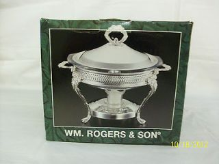 Wm. Rogers & Son Silver plated Food Warmer Chafing Dish NEW NRFB