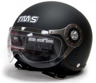 FLAT BLACK MOTORCYCLE OPEN FACE JET PILOT HELMET DOT~XL