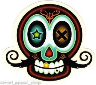 CUSTOM DECAL MUSTACHE SKULL GASSER LOWRIDER BOMB CHOPPER BOBBER BIKE