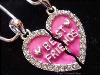 Necklaces Hot Pink Crystal Heart love Best friends BFF friendship