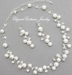 & Bridal White Pearl Crystal Necklace Set Gift Box   chunky jewelry