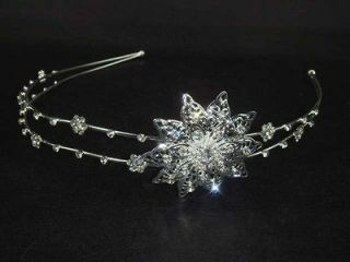 Bridal Flower Headpiece headdress Crystal Rhinestone Headband Tiara