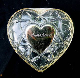 Vintage Crystal Hinged Jewelry Trinket Box Clear (glass) Heart Shaped