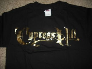 CYPRESS HILL Gold Foil Logo T Shirt **NEW music concert tour band 2XL