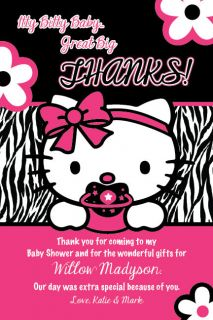 HELLO KITTY Thank You Card Zebra Print Printable Baby Shower Party 1st