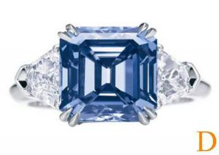 Stone CornFlower Blue Asscher Cut & Kite Sapphire Diamond 950 Ring