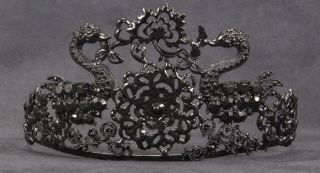 black swan jewel TIARA princess ballerina gothic womens adult