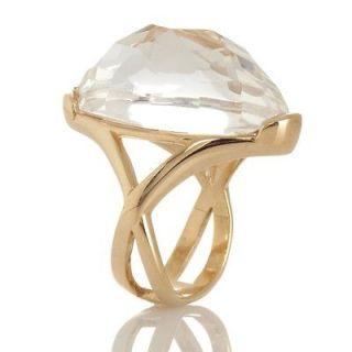 Technibond Checkerboard Cut Oval Gemstone Ring 14K Yellow Gold Clad