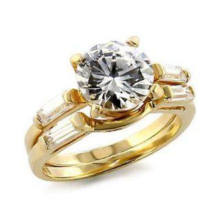 WOMENS 14K GOLD TONE ENGAGEMENT/WEDDING SET CZ RING SIZE 5 6 7 8 9 10