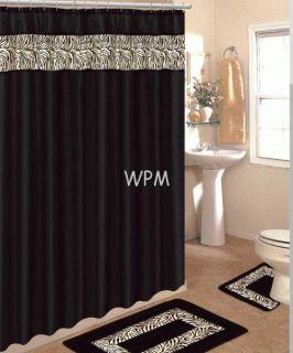 pc BATHROOM rug set Black zebra bath rugs fabric shower curtain