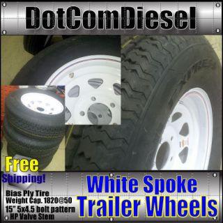 205 75 D15 F78 15 Trailer Tires Bias Ply White Spoke Rims Wheels 15