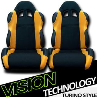 Black/Yellow Fabric & PVC Leather Reclinable Racing Seats+Sliders 41