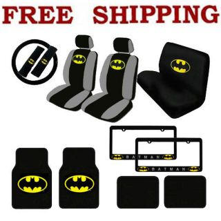 New 17pc Set Batman Car Seat Covers Steering Wheel Cover Floor Mats