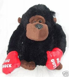 Dan Dee Plush Gorilla Black You Knock Me Out Red Boxing Gloves 9