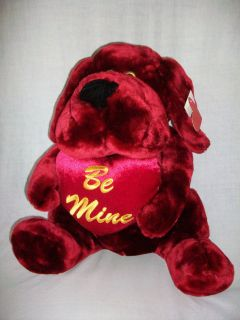 Dan Dee Valentines Day Burgundy Bull Dog BE MINE Stuffed Animal Plush