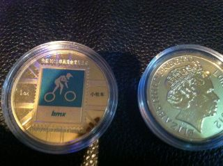London 2012 Olympic Games paralympics Sports Coin BMX BIKE Gold plated