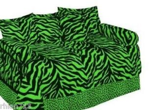 Green Black ZEBRA PRINT Daybed Comforter Set Shams G15