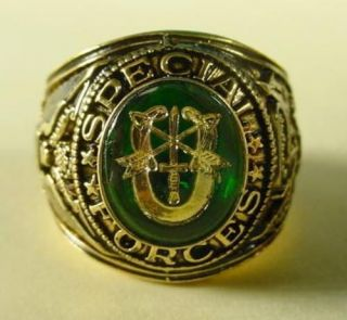 New 18KTgb Special Forces Signet Ring Military Sizes 7 15