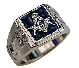 Masonic Mens cz Ring Blue Lodge 14K White Gold overlay size 14