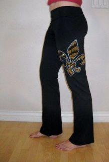 RHINESTONE LEOPARD FLEUR De LIS Fold Down Yoga Pants, L