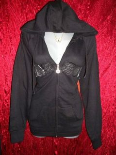 DEREON By Beyonce MEDIUM Black Hoody Jacket Shirt Sweater Women M New